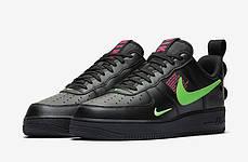 Мужские кроссовки Nike Air Force 1 Low Utility Black Hyper Pink Scream Green CQ4611-001, фото 3