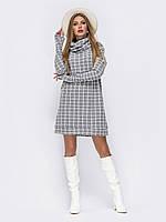 Платье-мини прямого кроя с объёмным воротником в клетку серый