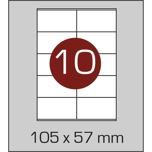 Этикетка самоклеящаяся А4 (10шт на листе) 105х57мм