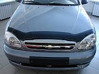 Дефлектор капота Chevrolet Lanos 1998-2016 (ZAZ Sens (ЗАЗ Сенс)) (Люкс вариант)