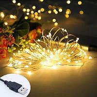 Світлодіодна гірлянда Нитка 10м 100шт LED Мультиколір з USB-штекером No Brand
