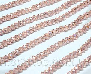 Кришталеві намистини (Рондель) 2х2мм, колір - рожево-персиковий прозорий з АБ