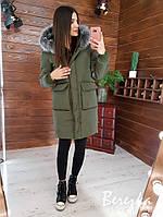 Женская теплая зимняя куртка с накладными карманами (в расцветках)