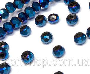 Кришталеві намистини (Рондель) 2х2мм, колір - синє напилення