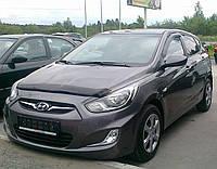 Дефлектор капота Hyundai Accent (Solaris) 2010-2014 длинный (Люкс вариант)