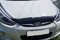 Дефлектор капота Hyundai Accent (Solaris) 2010-2014 короткий (Люкс вариант)
