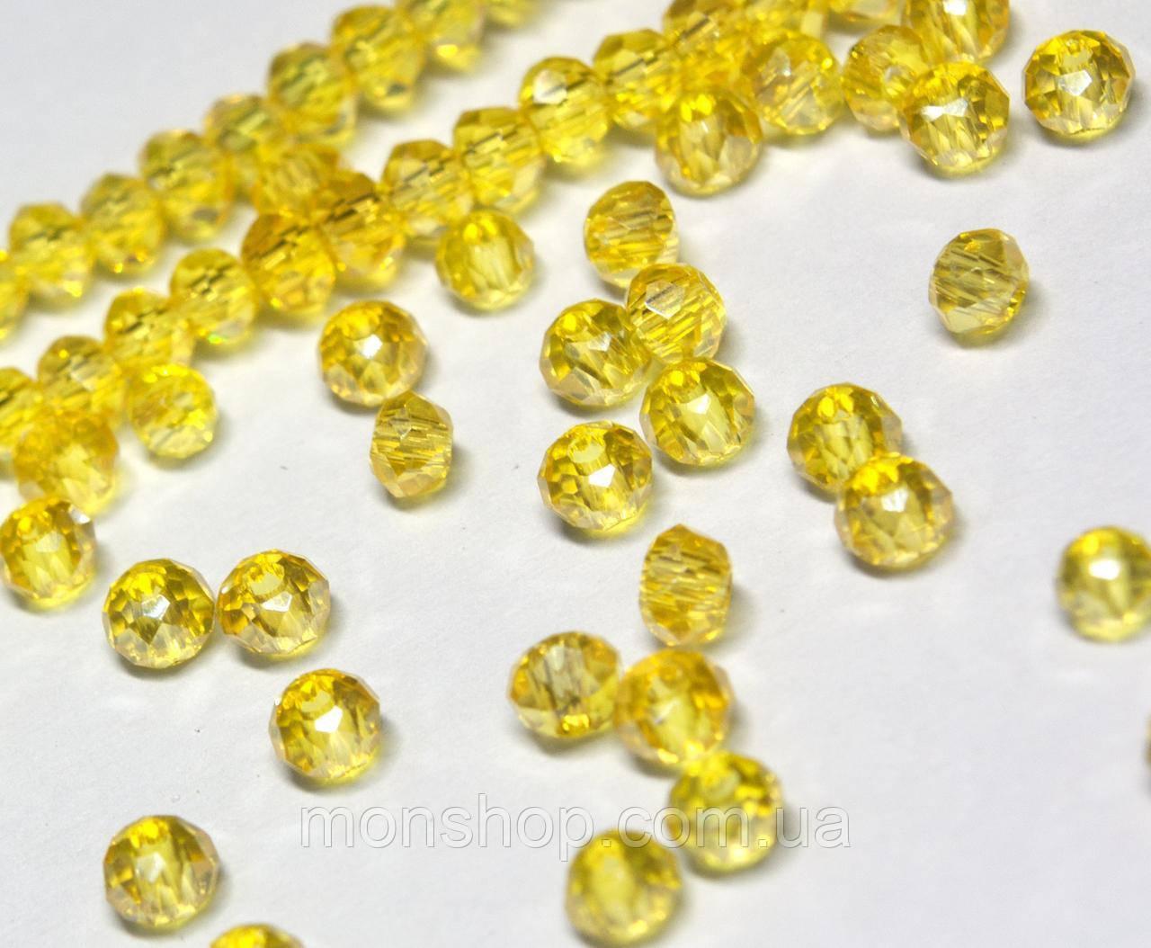 Бусины хрустальные (Рондель) 2х2мм, цвет - желтый прозрачный