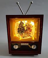 "Новогодний декор лампа - ""Телевизор"" со снегом Musical Television Snow Globe Light"