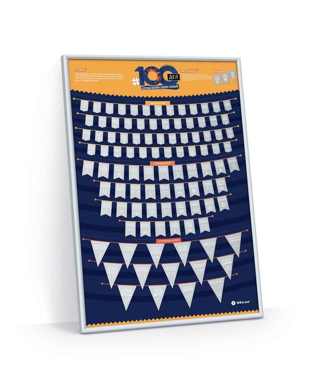 Мотивационный скретч - постер # 100 ДЕЛ   карта желаний Большие дела   оригинальный подарок