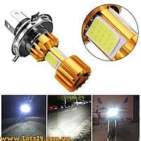 Лампы H4 3 COB LED 6500K с радиатором на мотоцикл и скутер (лучше чем галогеновые и ксеноновые)