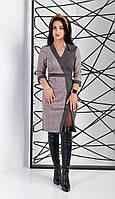 Комбинированное женское платье с разрезом: серый с клеткой, фото 1