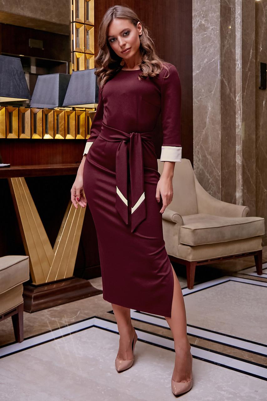 Элегантное платье карандаш женское марсала трикотаж джерси