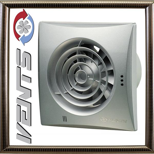 Вытяжной Вентилятор Вентс 100 Квайт TH (алюминий лак)  с регулируемым таймером  и датчиком влажности