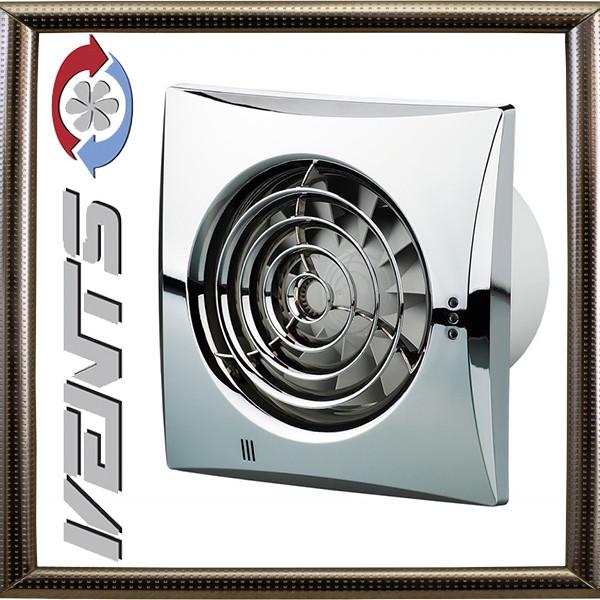 Вытяжной Вентилятор Вентс 100 Квайт TH (хром)  с регулируемым таймером  и датчиком влажности