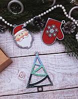 Набор новогодних игрушек на елку из дерева, ручная работа №5
