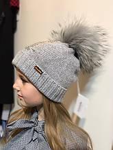 Детская шапка для девочки TRESTELLE Италия T19 489S Серый