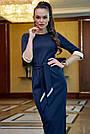 Офисное платье карандаш женское синее трикотаж джерси, фото 2