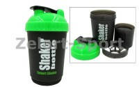 Шейкер для спортивного питания (пластик, 600мл, черно-зеленый)