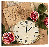 Настенные часы на холсте Декор Карпаты Provance D1 Светло-коричневый (tUmZ81811)
