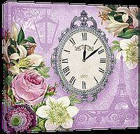 Настенные часы на холсте Декор Карпаты Provance D6 Сиреневый (VALa79631)