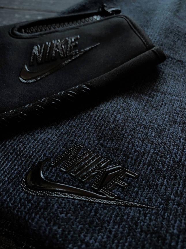 Мужской комплект шапка синяя + перчатки черные Nike зимний., фото 2