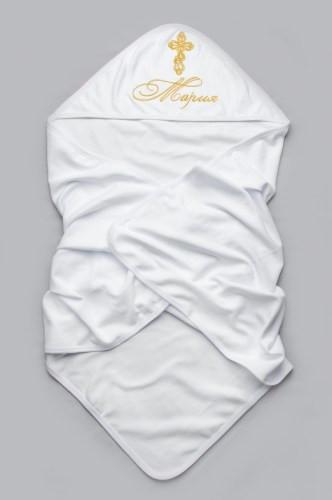 Именная крыжма для крещения из мягкого интерлока (100% хлопок) 95*95 см