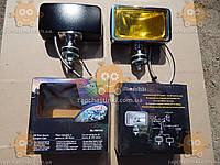 Фара противотуманная УНИВЕРСАЛЬНАЯ БОЛЬШАЯ! (2шт) 199мм (желтое стекло)  ХРОМ - металл (крепиться с помощью кронштейна на бампер, кенгурятник, кузов)