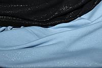 Ткань двухнитка (1,50м). Мокрый эфект.(напыление глистера), цвет голубой, фото 1