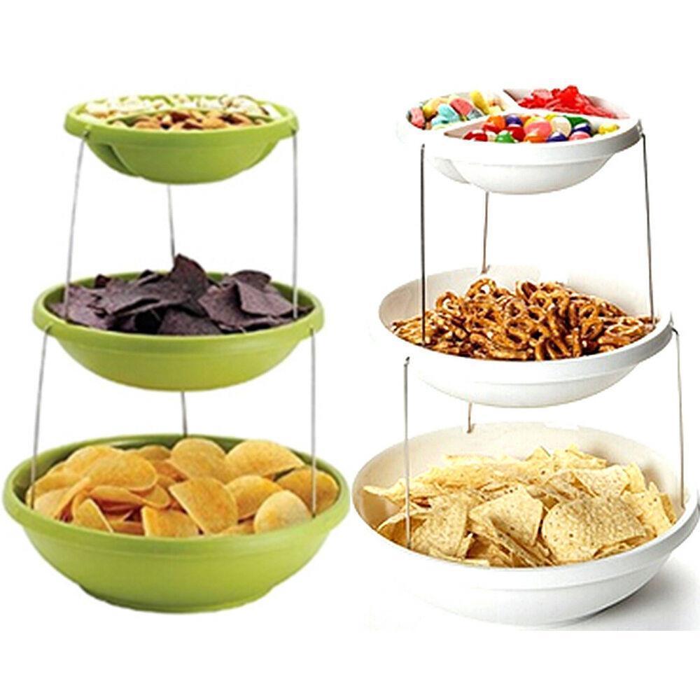 Миска трехуровневая для вечеринок Twist Fold 3 Tiered Bowl | миска для снеков