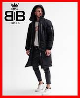 Парка мужская зимняя с капюшоном,куртка Асос Снеговик черная, удлиненная