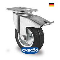 Колесо поворот. с тормоз. с ролик. подшипником 80 мм, 70 кг, сталь/черная резина (Германия)