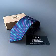 Галстук I&M Craft синий в зеленую и бордовую точку (020326)
