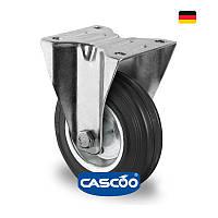 Колесо неповорот. с ролик. подшипником 100 мм, 75 кг, сталь/черная резина (Германия)