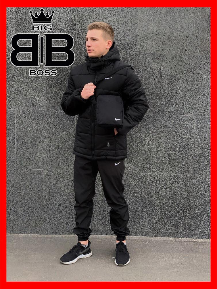 """Куртка зимняя мужская найк Jacket Winter """"Euro"""", теплый пуховик, цвет черный"""