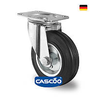 Колесо поворот. с ролик. подшипником 80 мм, 70 кг, сталь/черная резина (Германия)