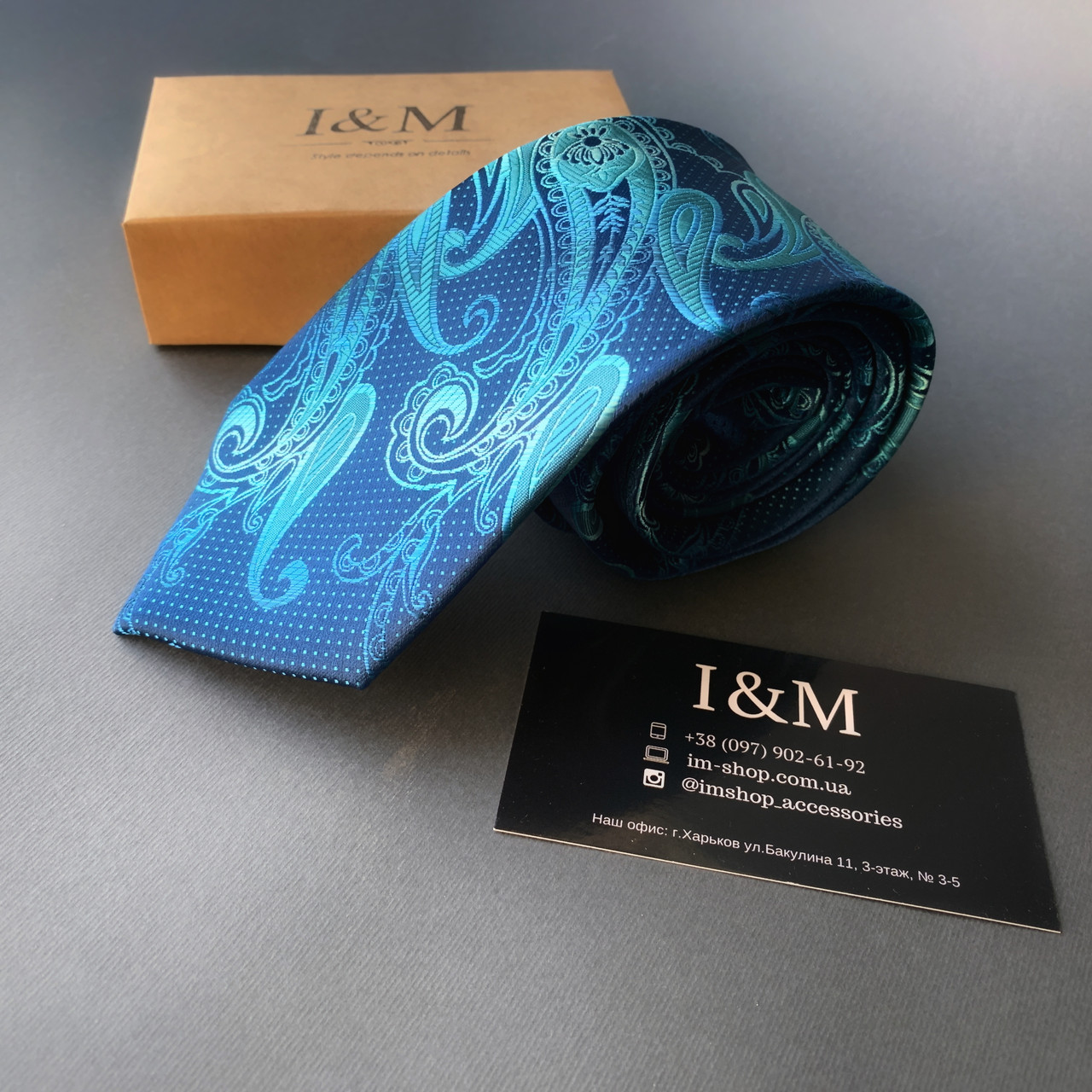 Галстук I&M Craft синий с узорами (020328)