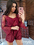 Женский стильный комбинезон ромпер с кружевом (в расцветках), фото 9