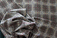 Ткань  софт принт , клетка коричневый тон,  штамп глистера. (фото на ширину 1,5 м)  пог. м., №912