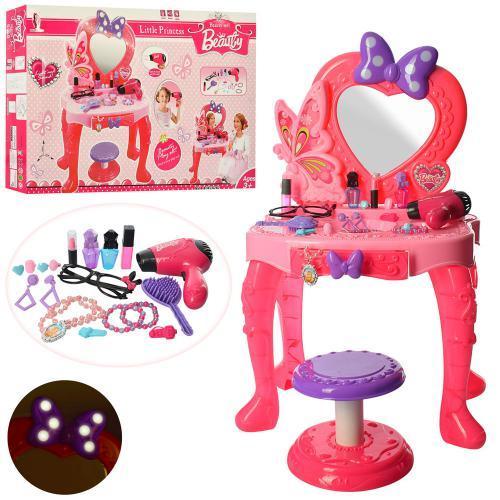 Розовое трюмо для девочек со стульчиком феном аксессуарами V95808