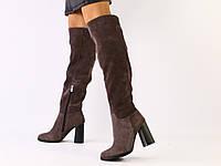 Зимние натуральные замшевые сапоги-ботфорты на удобном каблуке, коричневые
