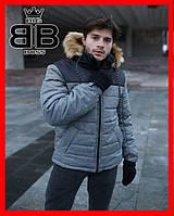 Куртка мужская зимняя теплая с капюшоном на меху, Пуховик мужской зимний Jacket winter Alaska серый, фото 1