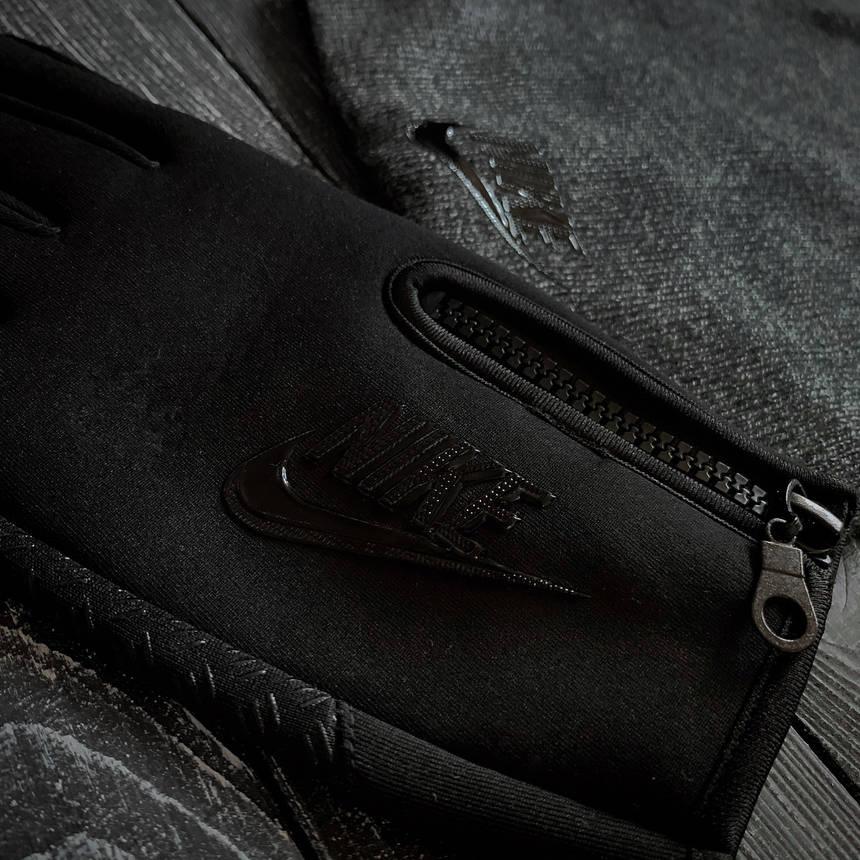 Мужской комплект шапка серая + перчатки черные Nike зимний., фото 2