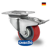 Колесо поворотное с тормозом с роликовым подшипником 80 мм, полиамид/полиуретан (Германия)