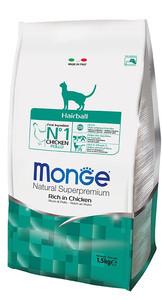 Monge Hairball Rich in Chicken Корм для выведения шерсти из желудка для взрослых котов 10 кг