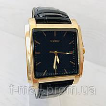 Мужские наручные часы Gucci (реплика) Золото с черным циферблатом