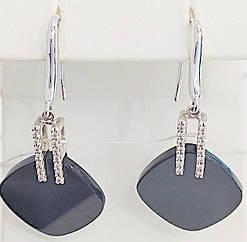 Золоті сережки з діамантами і оніксом с111-0412