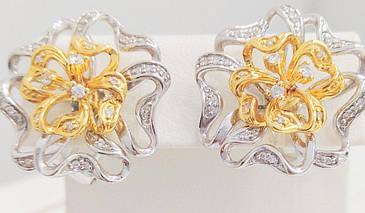 Золотые серьги с бриллиантами с111-1179