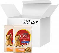 Purina One Mini Adult 100г*20 шт беззерновые паучи для собак малых пород с курицей