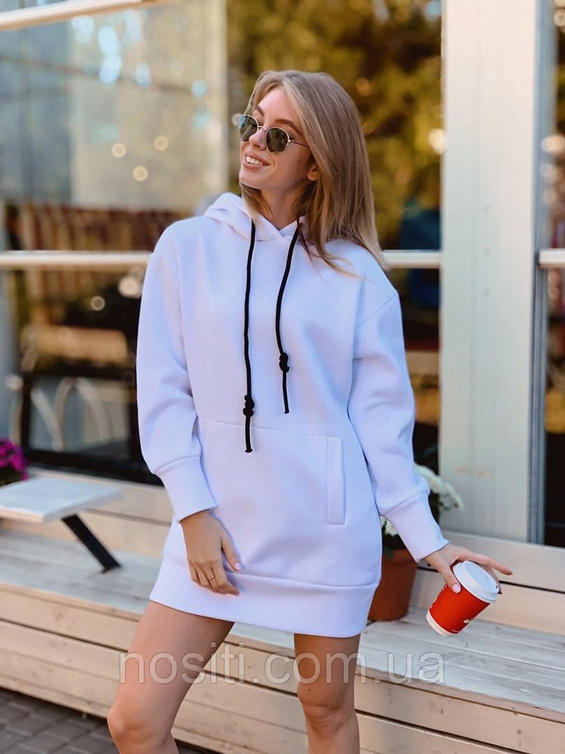 Женское платье теплое спортивное,худи с капюшоном на флисе