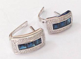 Золотые серьги с бриллиантами и сапфирами с001-0469